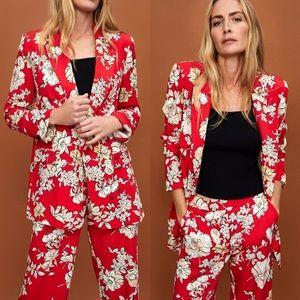 NWT Zara Red Floral Blogger Favorite Blazer